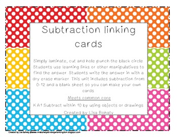 Subtraction linking cards