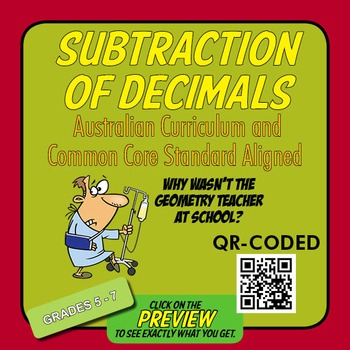Subtraction of Decimals – Australian Curriculum Year 6 – E