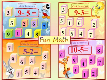 Back to school activities - Subtraction to 10 - Interactive Math