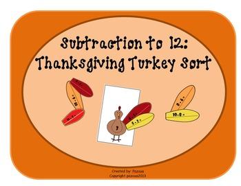 Thanksgiving Turkey Sort: Subtraction to 12