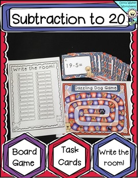 Subtraction to 20 (Twenty) Board Game / Task Cards / Write