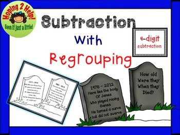 4-Digit Subtraction with Regrouping:  Halloween