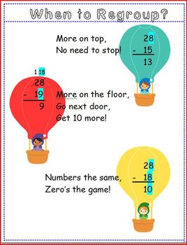 Subtraction with Regrouping Poem: Poster and... by Doris M ...