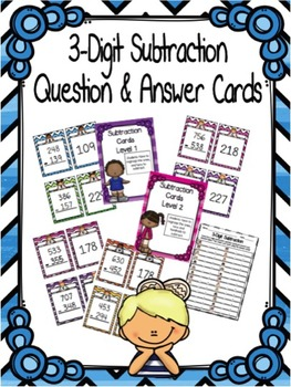 3-Digit Subtraction with Regrouping Question and Answer Cards