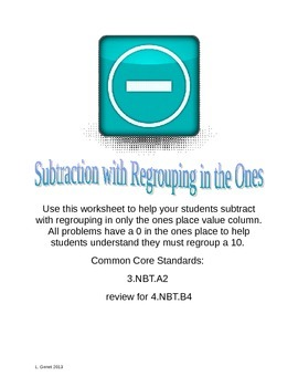 Subtraction with Regrouping in the Ones Worksheet 3.NBT.A2