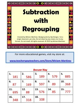 Subtraction with regrouping. Task cards.