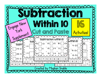 Subtraction within 10 Cut and Paste Activities Pack - Enga