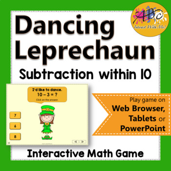 Subtraction within 10 Interactive Math Game {Dancing Leprechaun}