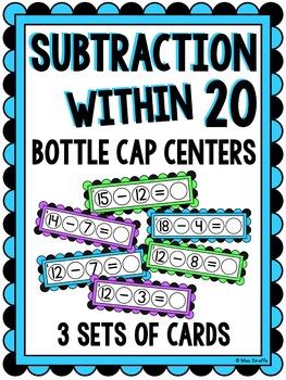 Subtraction within 20 Bottle Cap Math Centers