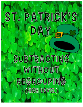 Subtraction without Regrouping (High Level) - St. Patrick's Day