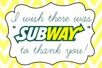 Subway Gift Card Label