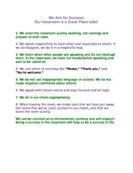 Success in Life Classroom Behavior Chart