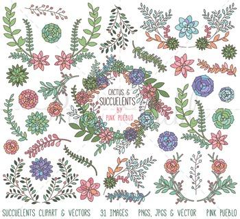 Succulent Clipart, Succulent Clip Art, Cactus Clipart, Cac