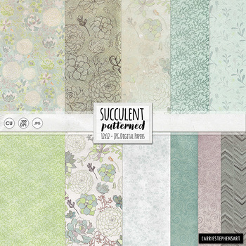 Succulent Textured Floral Digital Papers