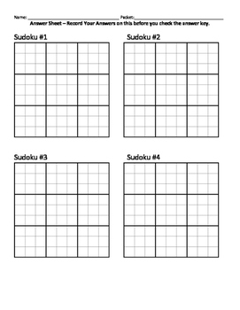 Sudoko Answer Sheet