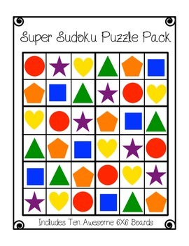 Sudoku #2- Elementary Worksheets and Center 6X6 Puzzles wi