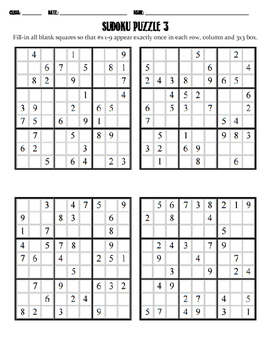 Sudoku Puzzle - Mixed Difficulty 3