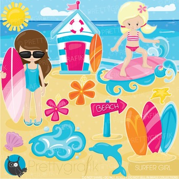 Sufer girls clipart commercial use, graphics, digital clip