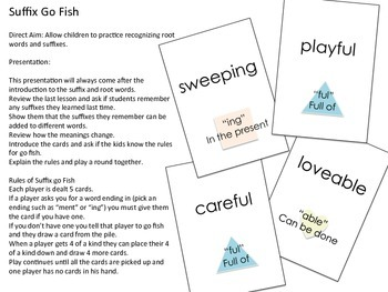 Suffix Go Fish Game