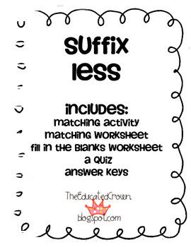 Suffix LESS activity, matching, sentences, and quiz!