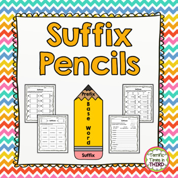 Suffix Pencils: Posters, Worksheets, and Matching Game