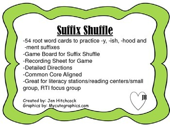Suffix Shuffle -y, -ish, -hood, -ment