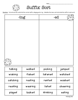 Suffix Sort -ed and -ing Suffixes for Past and Present/Fut