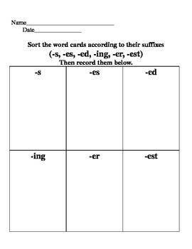 Suffix Sort (s,es,ed,ing,er,est)