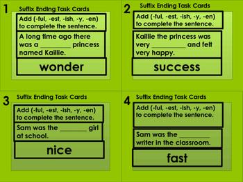 28 Suffix Task Cards-(ful, est, ish, y, en)