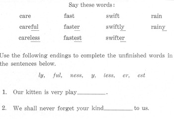 Suffixes: 4 Worksheets for Grammar, Structural Analysis +