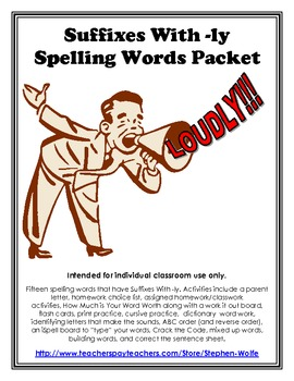 Suffixes With -ly Spelling Basic Word Work Packet