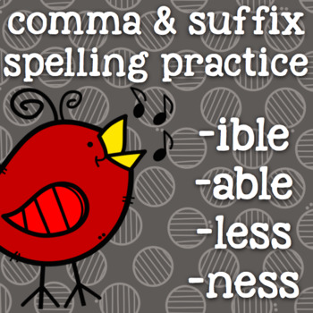 Suffixes - -ible, -able, -ness, -less - 2nd Grade Suffix S