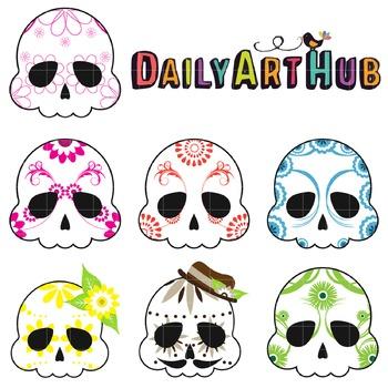 Sugar Skulls Clip Art - Great for Art Class Projects!