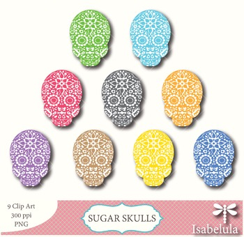 Sugar Skulls / Day of the Dead Clipart - 9 PNG