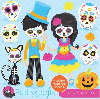Sugar skull kids clipart commercial use, vector graphics,