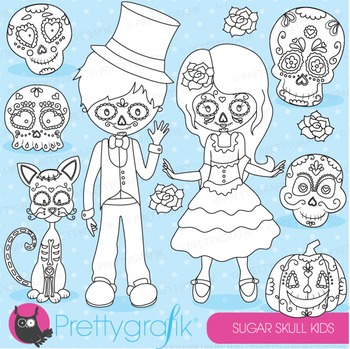 Sugar skull stamps commercial use, vector graphics, images