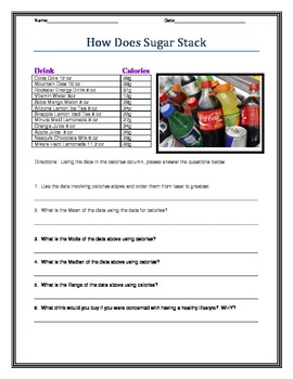 Sugary Drinks Using Statistics, Mean, Median, Mode, and Bo