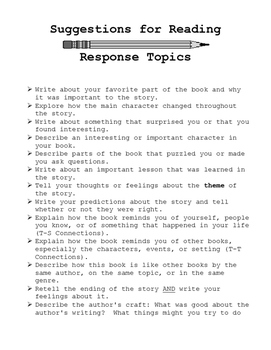 Suggestions for Reading Response Topics Poster
