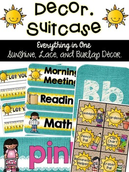 Suitcase {Sunshine, Lace, & Burlap Decor.}