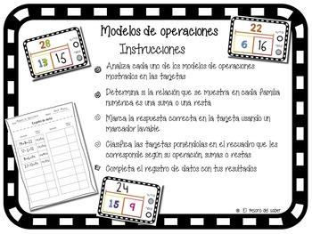 Sumas o restas - Spanish Classification Game & Worksheets