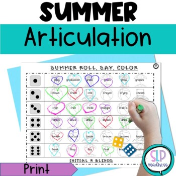 Summer Beach NO PREP Articulation Roll Say Color - Sound P