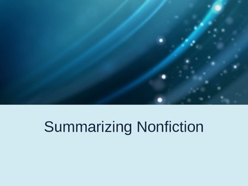 Summarizing Nonfiction Power Point