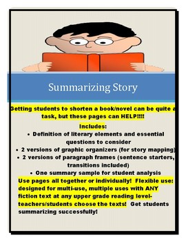 Summarizing Fiction or Story (for writing about books/non-