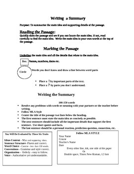 Summarizing Text & Six Trait Rubric for Evaluation