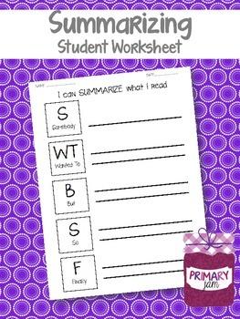 Summarizing Worksheet {Somebody Wanted But So Finally}