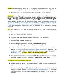 Summarizing the Main Idea using Editorials (RI.02)
