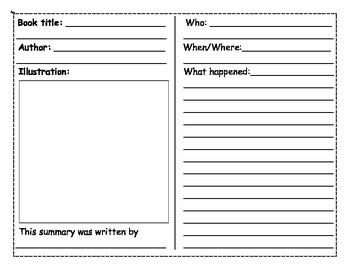 Summary Booklet Graphic Organizer - King Virtue