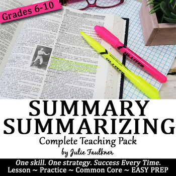 Summarizing Lesson, Complete Teaching Pack, Reading Comprehension, SWBST