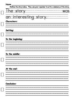Summary Writing Organizer