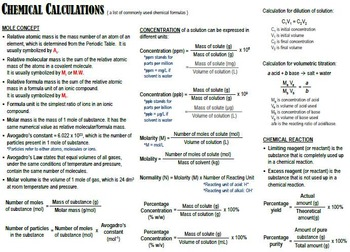 {free} Summary of Chemical Calculations